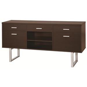 Contemporary Credenza with Metal Sled Legs