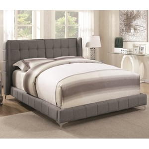 California King Upholstered Bed with Button Tufted Headboard