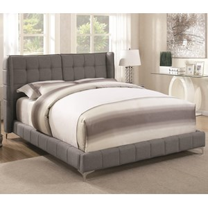Queen Upholstered Bed with Button Tufted Headboard