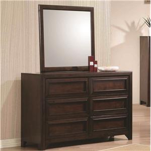 Dresser with Six Drawers and Mirror with Wood Frame