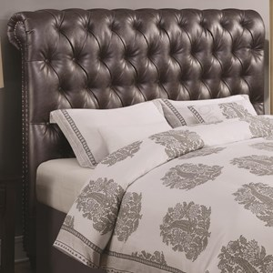 King Scrolled Headboard with Button Tufting