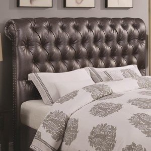 California King Scrolled Headboard with Button Tufting