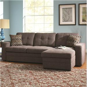 Sectional Sofa with Tufts, Storage, and Pull Out Bed