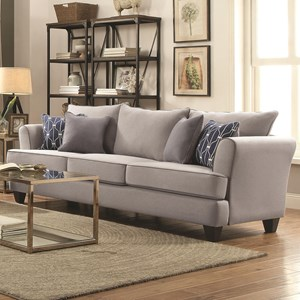 Casual Flared Arm Sofa with Four Toss Pillows