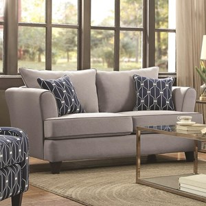 Casual Flare Arm Loveseat with Toss Pillows