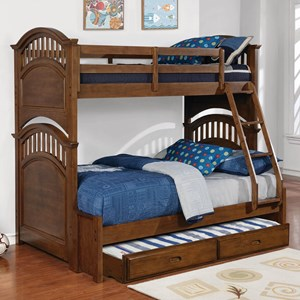 Casual Wooden Twin over Full Bunk Bed with Walnut Finish