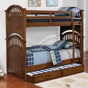 Casual Wooden Twin over Twin Bunk Bed w/ Storage Trundle in Walnut Finish