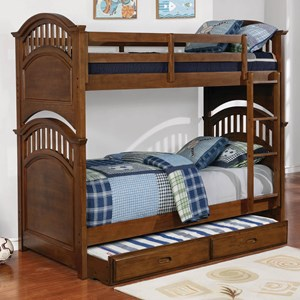 Casual Wooden Twin over Twin Bunk Bed with Walnut Finish