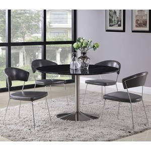 5-Piece Black Marble Top Dining Table Set