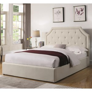 Cal King Upholstered Bed with Hydraulic Lift Storage