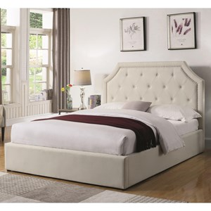 Queen Upholstered Bed with Hydraulic Lift Storage