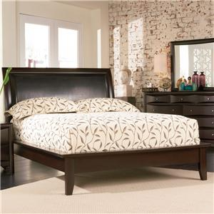 Contemporary Queen Platform Bed with Vinyl Panel Headboard