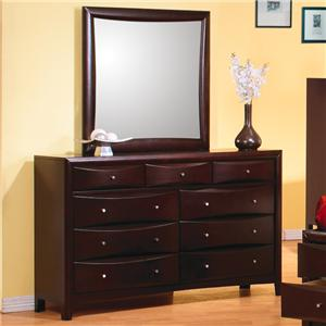 Contemporary 9 Drawer Dresser and Mirror