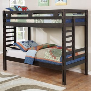 Youth Bedroom Dark Grey Twin Over Twin Bunk Bed