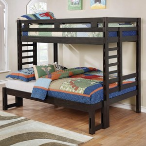Youth Bedroom Dark Grey Twin Over Full Bunk Bed