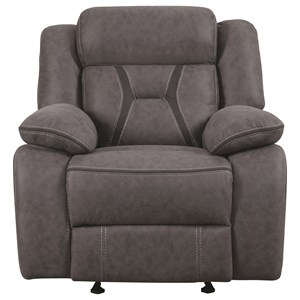 Casual  Pillow-Padded Glider Recliner with Contrast Stitching