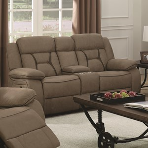 Casual Pillow-Padded Reclining Loveseat with Cupholder Storage Console