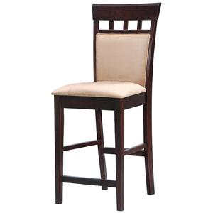 "24"" Upholstered Panel Back Bar Stool with Fabric Seat"