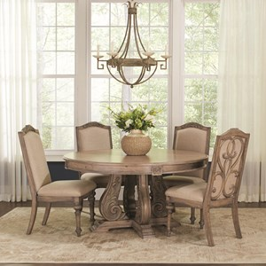 Traditional 5 Piece Table and Chair Set with Pedestal