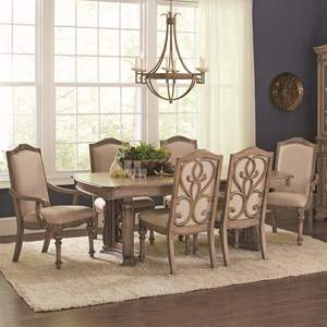 Traditional 7 Piece Table and Chair Set with Removable Leaf