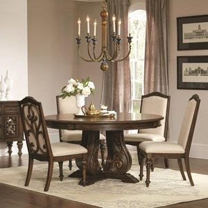 Traditional Round Dining Table with Detailed Pedestal