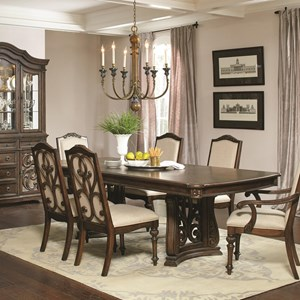 Traditional Rectangular Dining Table with Two Pedestals