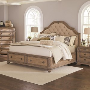 California King Storage Bed with Upholstered Headboard