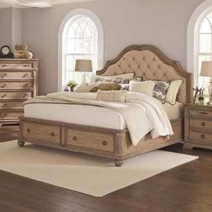 Queen Storage Bed with Upholstered Headboard