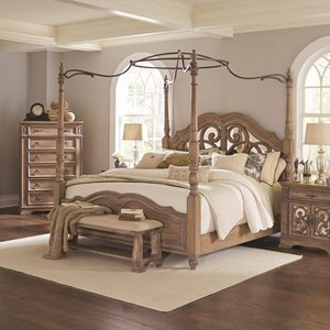 Queen Canopy Bed with Mirror Back Headboard