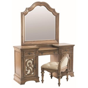 Vanity Stool with Upholstered Seat