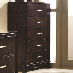 5 Drawer Chest with Slightly Flared Legs and Rectangular Metal Handles