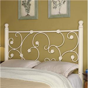 Full/Queen White Metal Headboard with Elegant Vine Pattern