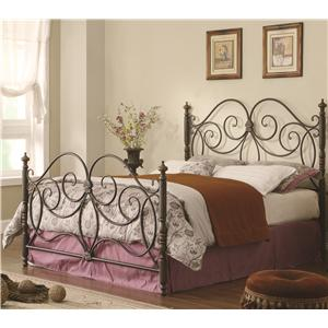 Queen Iron Bed with Scroll Details