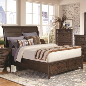 Queen Sleigh Bed with 2 Footboard Drawers