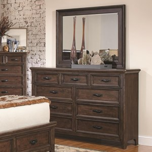 9 Drawer Dresser and Mirror Combo in Antique Mink Finish