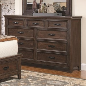 9 Drawer Dresser with Felt-Lined Top Drawers