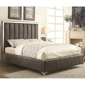 Twin Upholstered Bed in Grey Leatherette