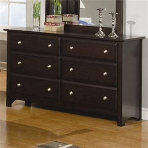 6 Drawer Dresser with Beveled Drawer Fronts