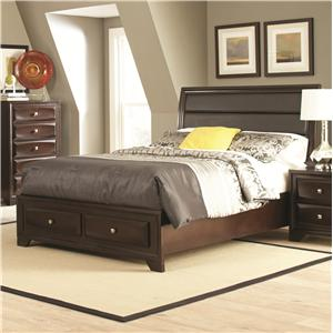 California King Bed with Upholstered Headboard and Storage Footboard