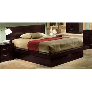 Queen Platform Bed with Rail Seating and Lights