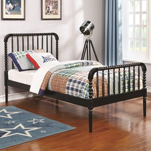 Twin Bed with Bobbin Motif
