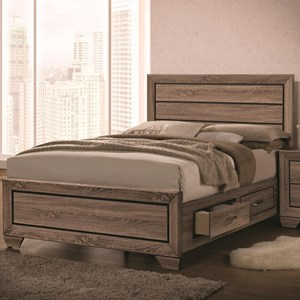 Queen Bed with Panel Design and Storage Footboard