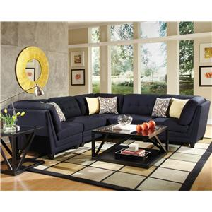 Transitional Five Piece Sectional Sofa with Tufting