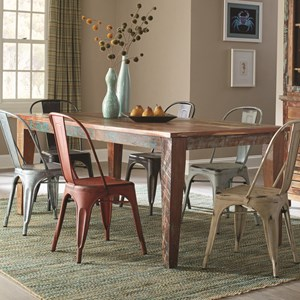 Rustic Rectangular Dining Table with Scrubbed Paint Look