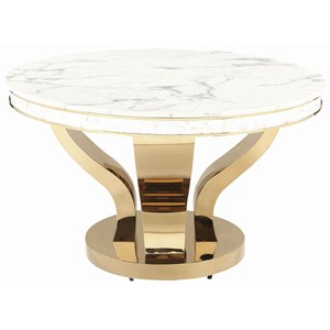 Glam Round Dining Table with Marble Top