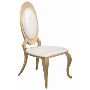 Glam Upholstered Side Chair with Gold Colored Finish