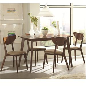 5 Piece Dining Set with Angled Legs