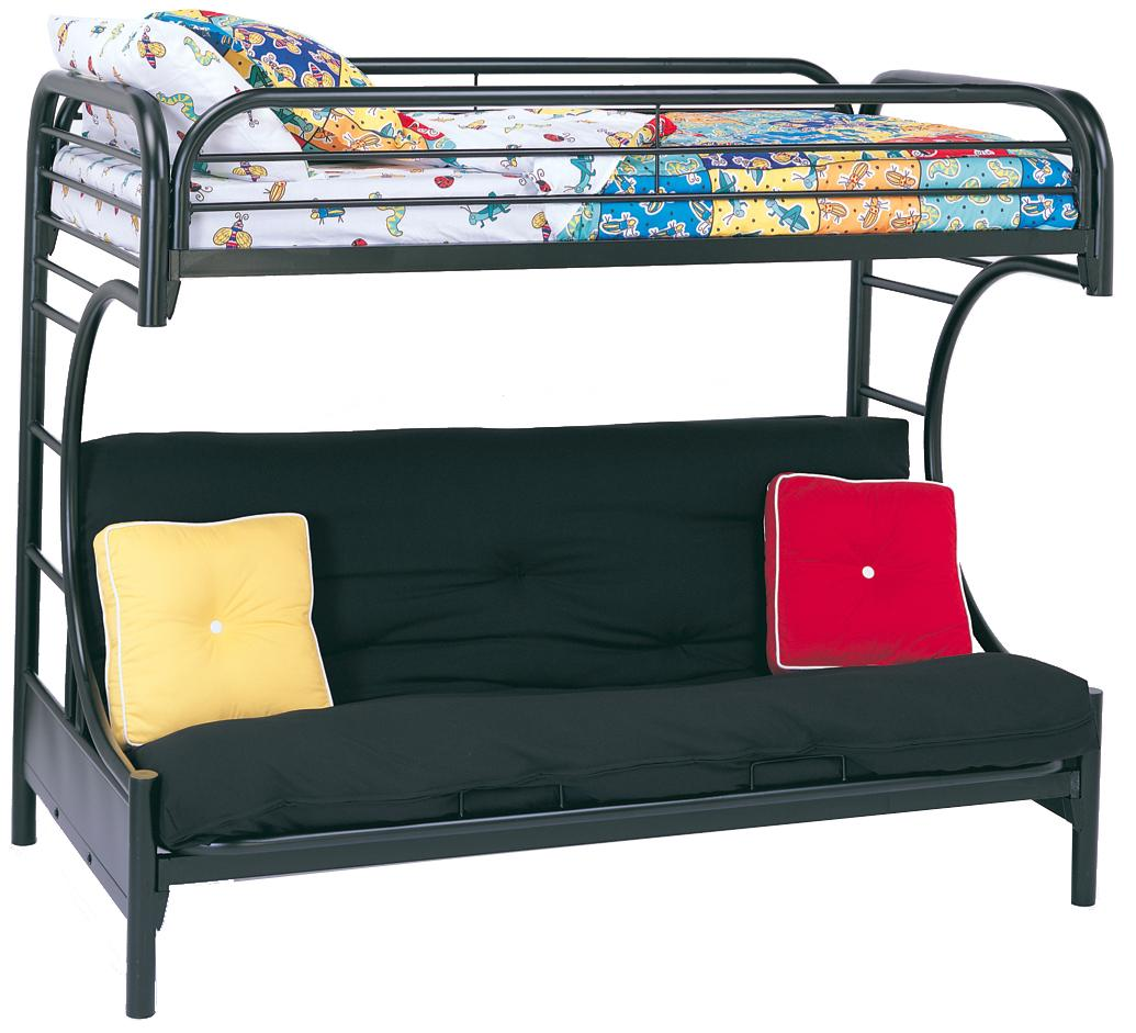 Metal Beds Twin Over Futon Bunk Bed by Coaster at A1 Furniture & Mattress