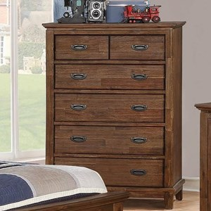 Transitional Youth Bedroom 6 Drawer Chest