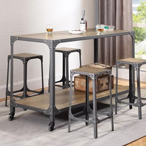 Rustic Kitchen Island and Stools